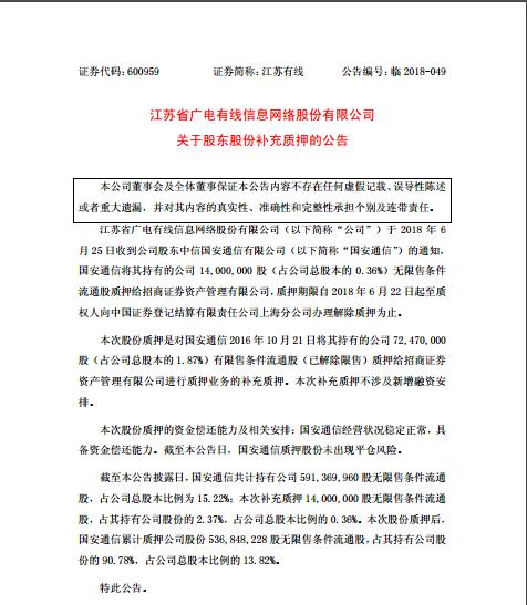 中信国安质押江苏有线1400万股给招商证券