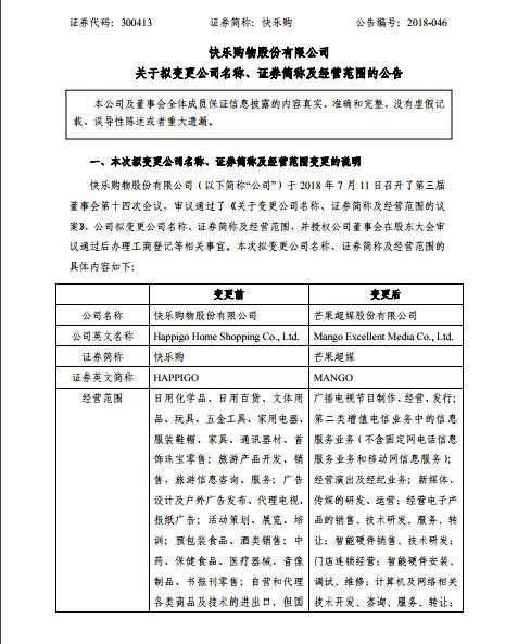 """2年!快乐购更名为""""芒果超媒"""" 快乐购重大资产重组顺利收官"""