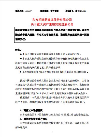东方明珠新媒体:关于重大资产重组实施进展公告