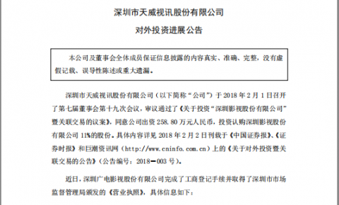 天威视讯:出资 258.8 万 投资认购深圳影视11%的股份