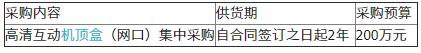 广东清新广电传媒机顶盒(网口)集中采购项目公开招标公告(第二次)