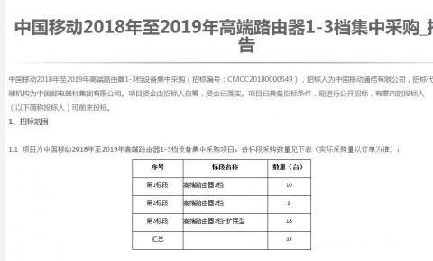 中国移动启动2018-2019年高端<font color=