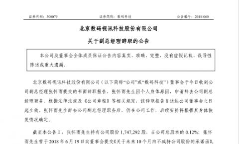 北京数码视讯科技股份有限公司关于副总经理辞职的公告