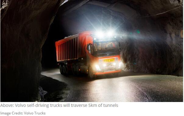沃尔沃第一批商用自动驾驶卡车将用于采矿 到明年底之前配备安全员