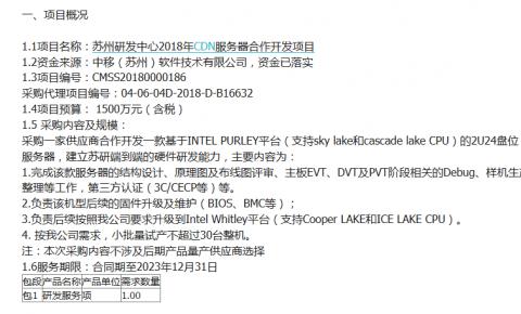 苏州研发中心发布2018年CDN服务器合作开发项目<font color=