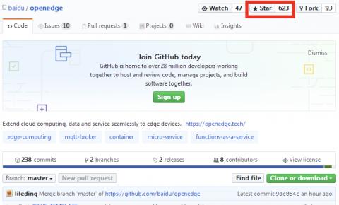 百度云智能边缘在GitHub好评量首超微软