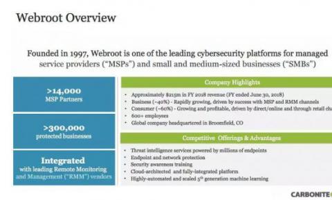 Carbonite 6.18 亿美元收购 Webroot:将<font color=