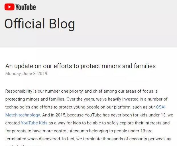 Youtube实行保护13岁以下青少年措施,没有成年人陪同不得参与直播