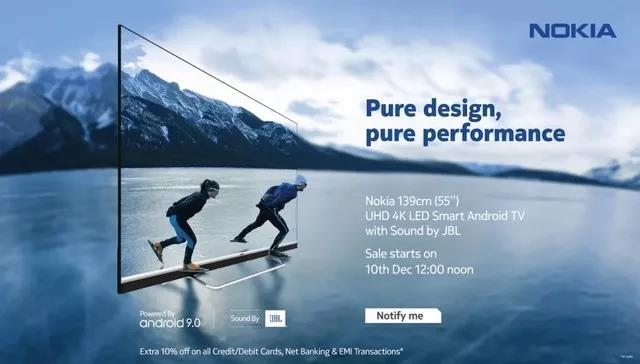 Nokia智能电视12月10日开售,约4154元人民币、55英寸+4K超高清