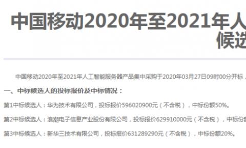 三家中标!中国移动<font color=red>人工智能</font>服务器集采