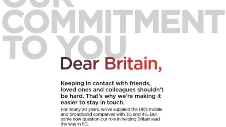 华为在多家英国报纸买下广告 回击5G网络安全担忧