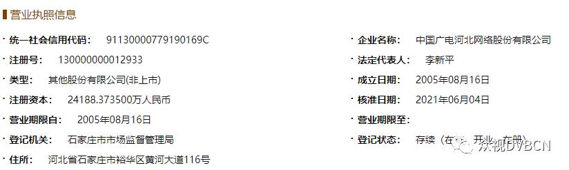 第17家!原河北广电信息网络集团股份有限公司完成改名